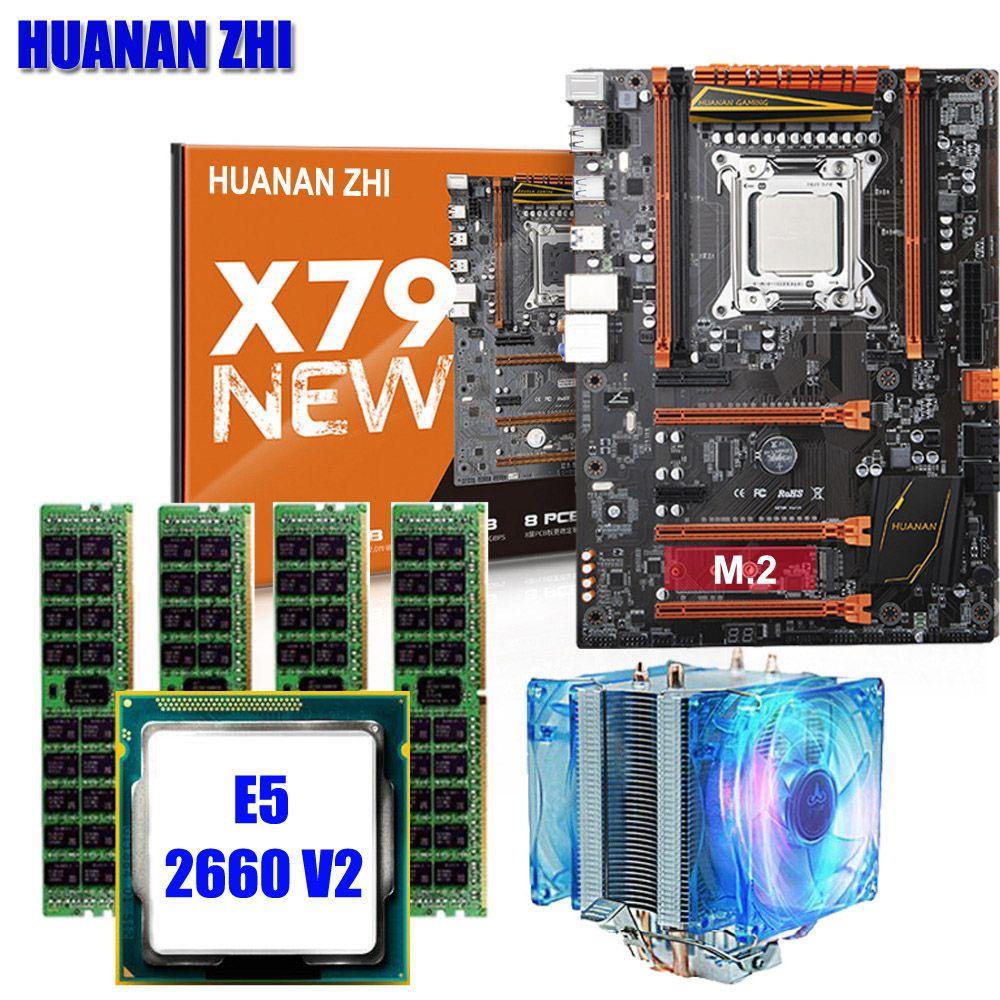 Qualität garantie marke neue HUANAN ZHI X79 deluxe gaming motherboard mit M.2 NVMe CPU Xeon E5 2660 V2 RAM 16g (4*4g) DDR3 RECC