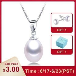AAAA Genuine Freshwater Pearl Pendants 8-9mm 925 Sterling Silver Necklace For Women Wholesale Small Size Natural Pearl Jewelry