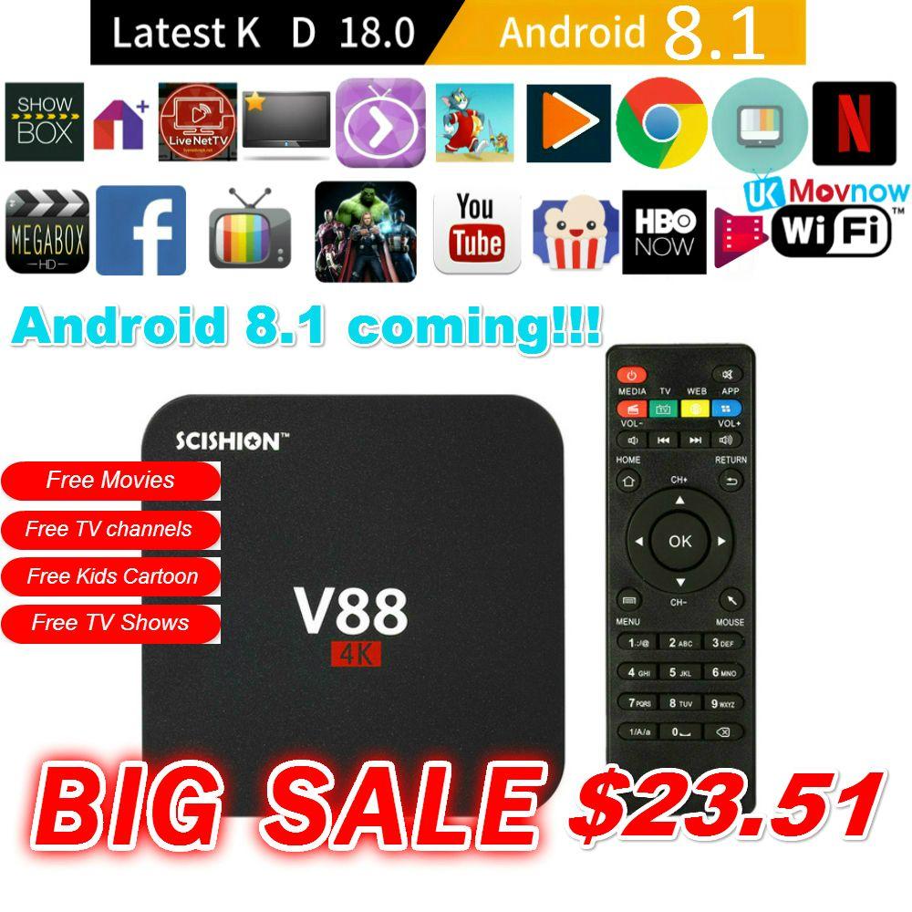 SCISHION V88 Android TV Box Latest KD 18.0 Android 8.1 OS 1GB RAM 8GB RK3229 Quad Core 1080P WiFi HDMI Smart TV BOX Media Player