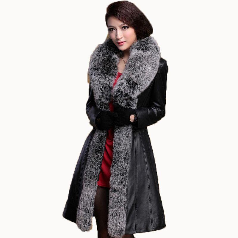Echtes Leder Jacke Frauen Unten Mantel Schaffell Winter Mantel Frauen Kleidung 2018 Fuchs Pelz Kragen Koreanische Plus Größe Langen Mantel ZT690