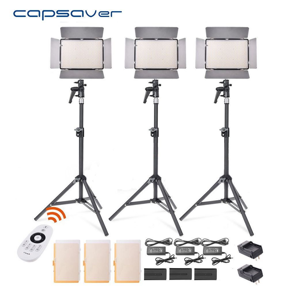 Capsaver TL-600S Led-videoleuchte 3 in 1 Kit Fotografie Beleuchtung mit Stativ Fernbedienung 600 LEDs 5500 Karat CRI 90 Studio Licht