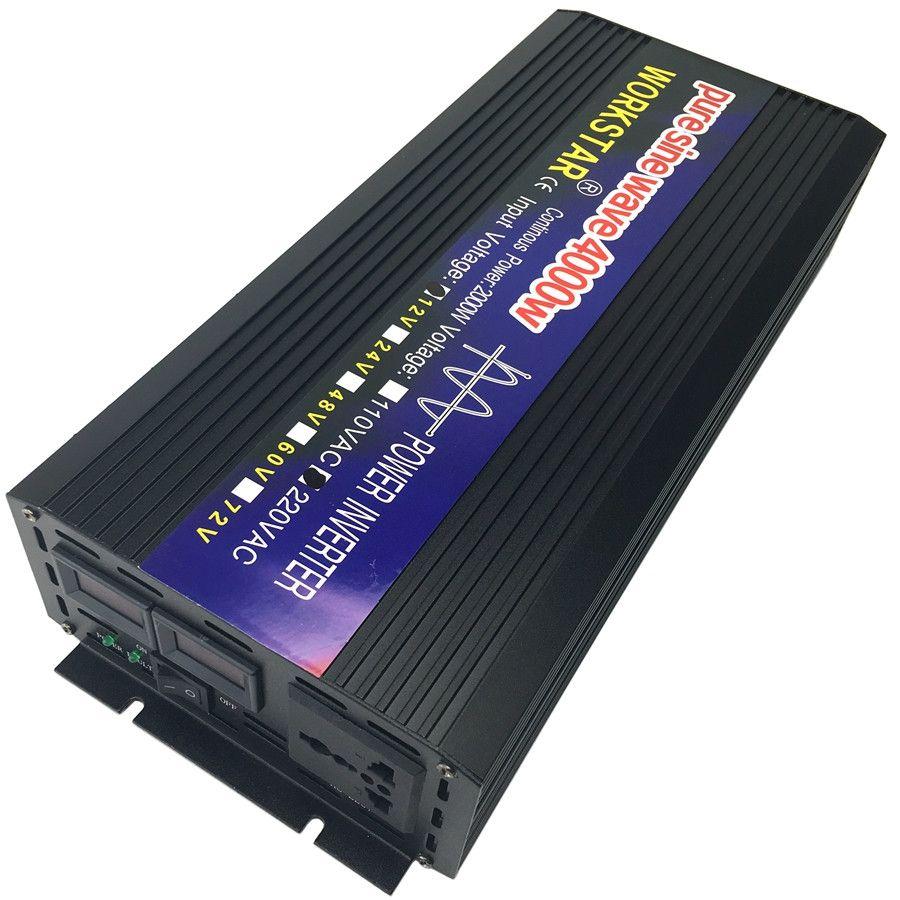 WORKSTAR Peak 4000W Pure Sine Wave OFF Grid Inverter DC12V/24V to AC220V Power Inverter Converter Houseuse Solar System