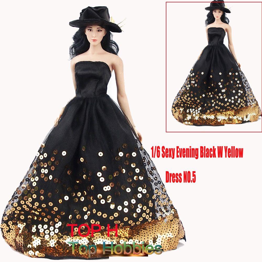 Los niños de la muñeca de lujo negro Con Amarillo Vestido de Noche 1/6 de La Boda Especial No. 5 Falda Modelo Fit 12 Pulgadas PHicen juguetes Femeninos