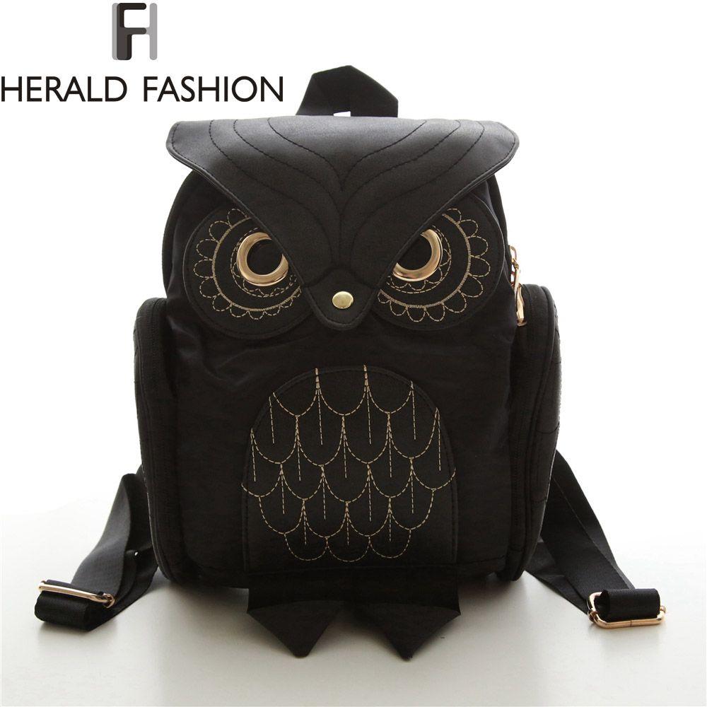 Women Backpack 2017 New Stylish Cool Black PU Leather Owl Backpack Female Shoulder Bag School Bags Herald Fashion mochila