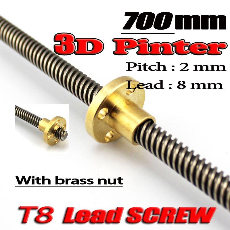 Imprimante 3D THSL-700-8D vis à tête Dia 8 MM pas 2mm plomb 8mm longueur 700mm avec écrou en cuivre livraison gratuite