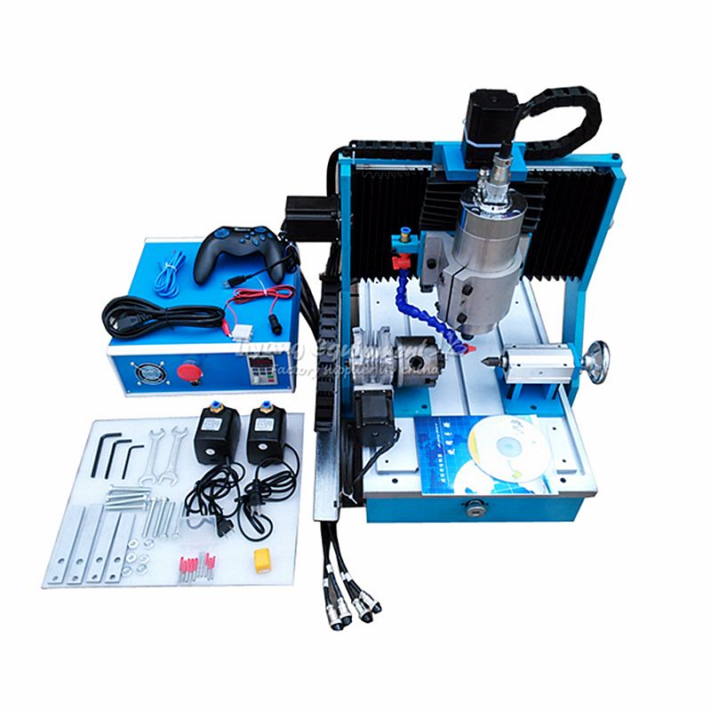 1500W CNC Router Engraving Machine 3040 4 Axis mini Aluminum Milling Machine Woodworking with USB Port Square line rail track