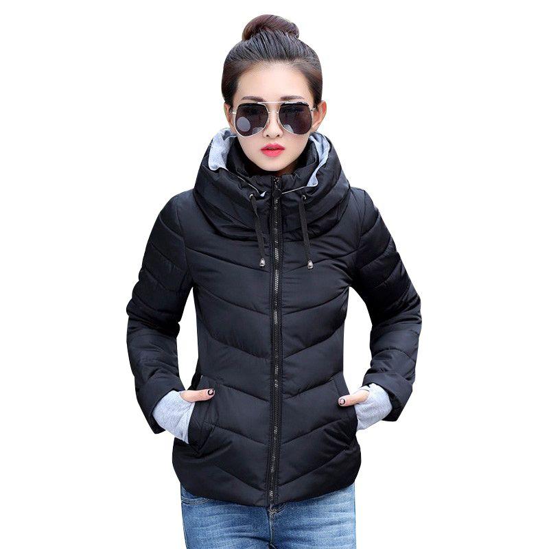 2018 Hiver Veste femmes Plus La Taille Femmes Parkas Épaissir Survêtement solide Manteaux à capuchon Court Femelle Mince Coton rembourré de base tops