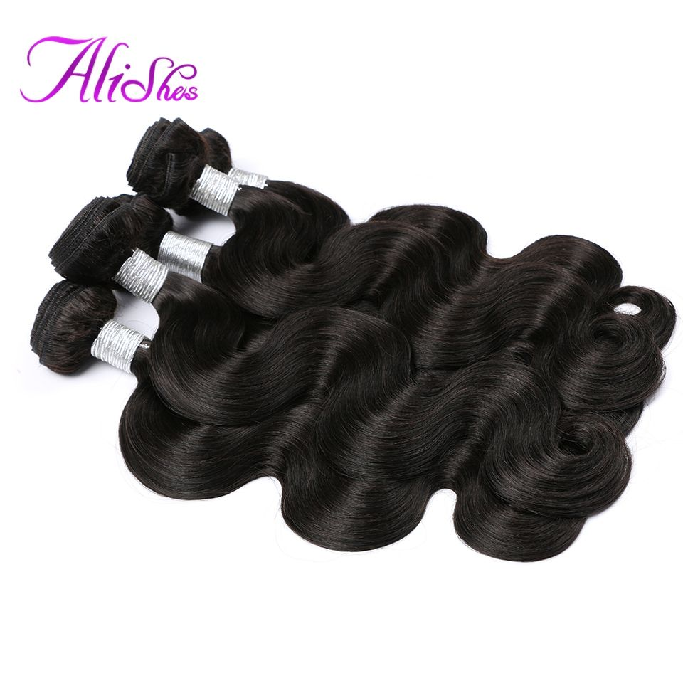 Alishes Hair Malaysian Body Wave Bundles Natural Color Non-Remy Hair Weave 100% Human Hair Bundles Can Mixed 4PCS Free Shippping