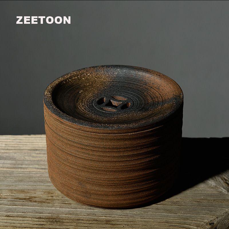 Zen Japanese Style Vintage Coarse Pottery Teapot Holder Tea Tray Kung Fu Tea Set Water Storage Bowl Tank Creative Home Decor New