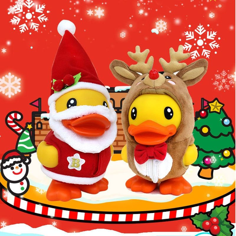 Delicate Christmas Duck Piggy Bank PVC Cartoon Xmas Duck Money Box Creative Cute Ducks Coin Box Kids Christmas Gift