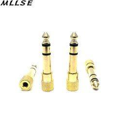 MLLSE 2Pcs 6.5mm to 3.5mm Gold Color Male to Female Jack Plus Stereo Headphone Audio Adapter for Music MP3 Headphones