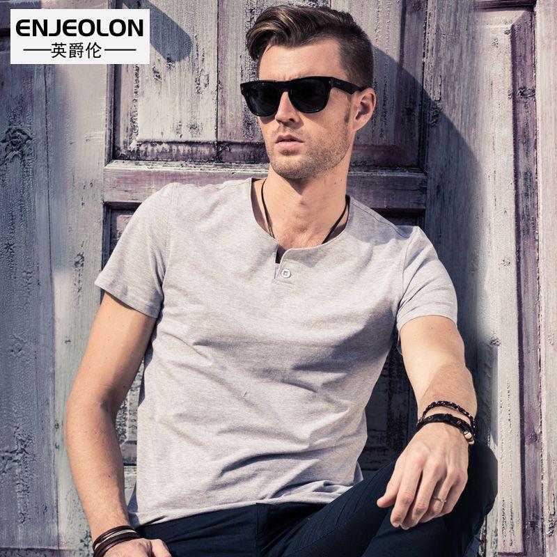 Enjeolon marque 2019 t-shirt hommes d'été à manches courtes couleur unie blanc Slim Fit décontracté mâle hauts grande taille 4XL t-shirt T1531