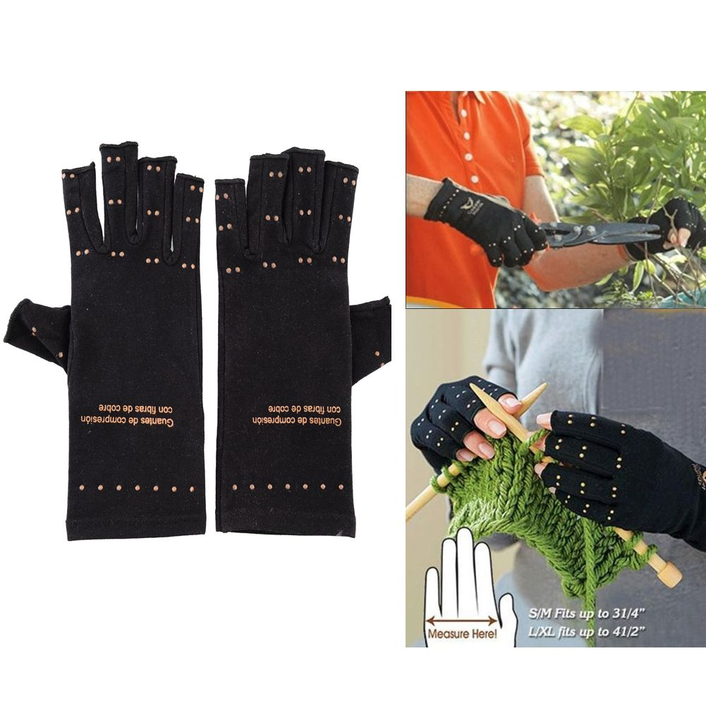 New Magic Unisex Women Magnetic Arthritis Finger Knuckles Gloves Relief Therapeutic Compression Black