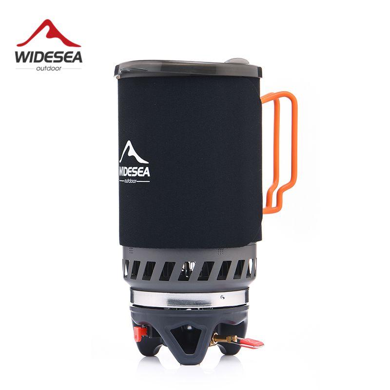 Widesea bec à gaz réchaud de camping ustensile de cuisine en plein air 1400 ML Échangeur de Chaleur Pot Cuisson Systerm Touristique Cuisine Cuisinière Équipement