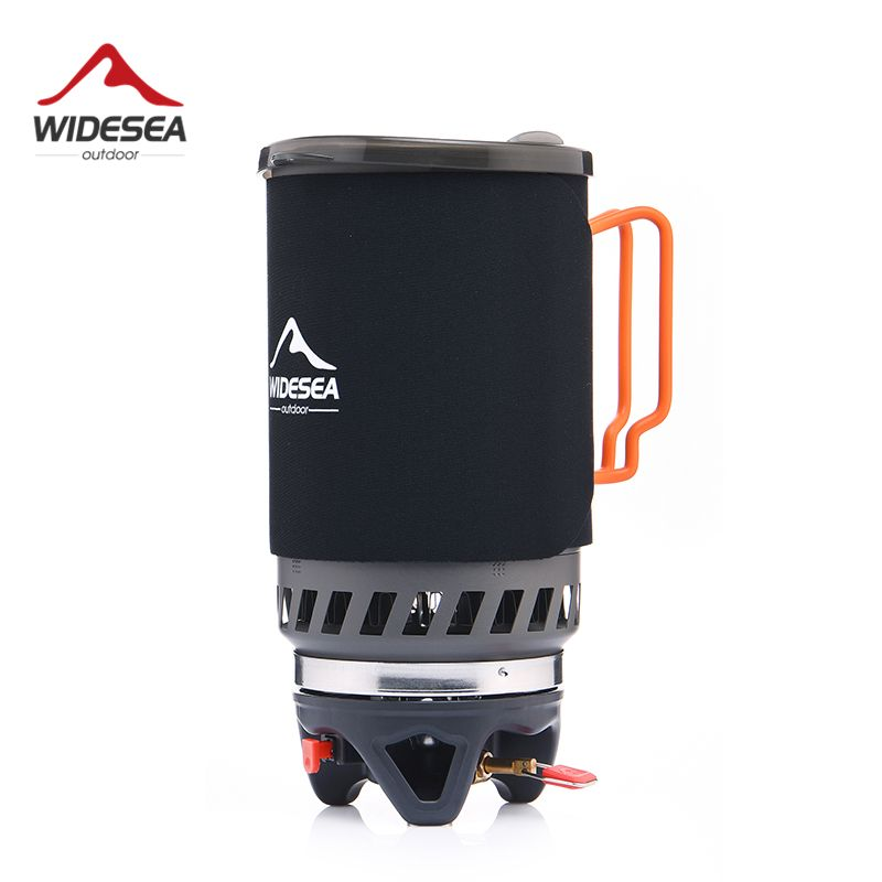 Widesea Gas Burner Camping Stove Outdoor Cookware 1400ML Heat Exchanger Pot Cooking Systerm Tourist Kitchen Cooker Equipment