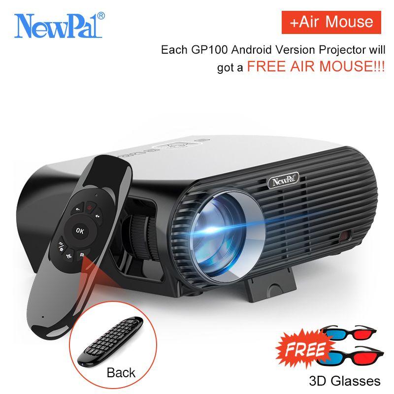 Newpal 3500 Lumen FÜHRTE Projektor GP100 UP Full HD WiFi Android 4 Karat Projektor 3D Wireless Video Proyectors mit kostenlosen 3D gläser