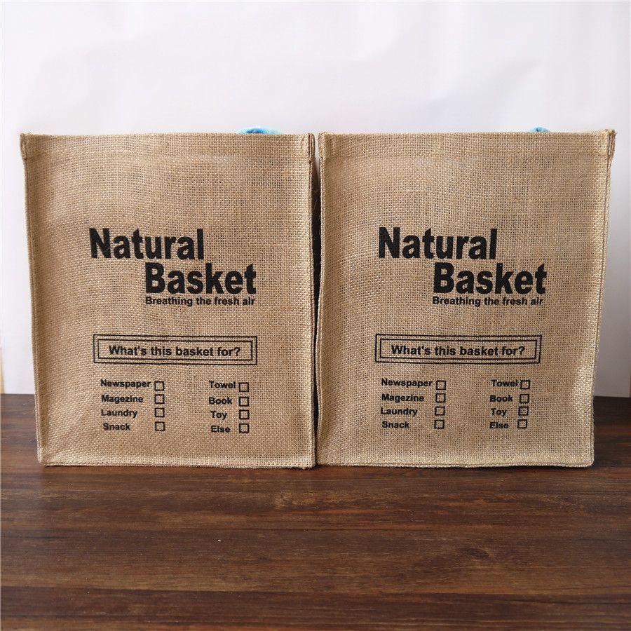 Jute zakka de stockage de bureau boxs naturel panier boîte de stockage sacs Bref blanchisserie seau sac de rangement en tissu panier écologique