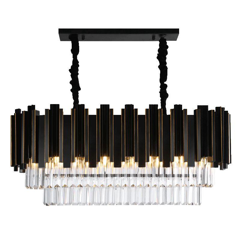 2018 Luxury Modern Rectangle Crystal Chandelier Black Dining Room Hanging AC110-240V Lighting Fixtures LED Lustres De Cristal