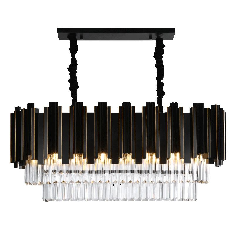 2018 Luxury Modern Rectangle Crystal Chandelier Black Dining Room Hanging AC110-240V Lighting Fixtures LED Lustres De Cristal