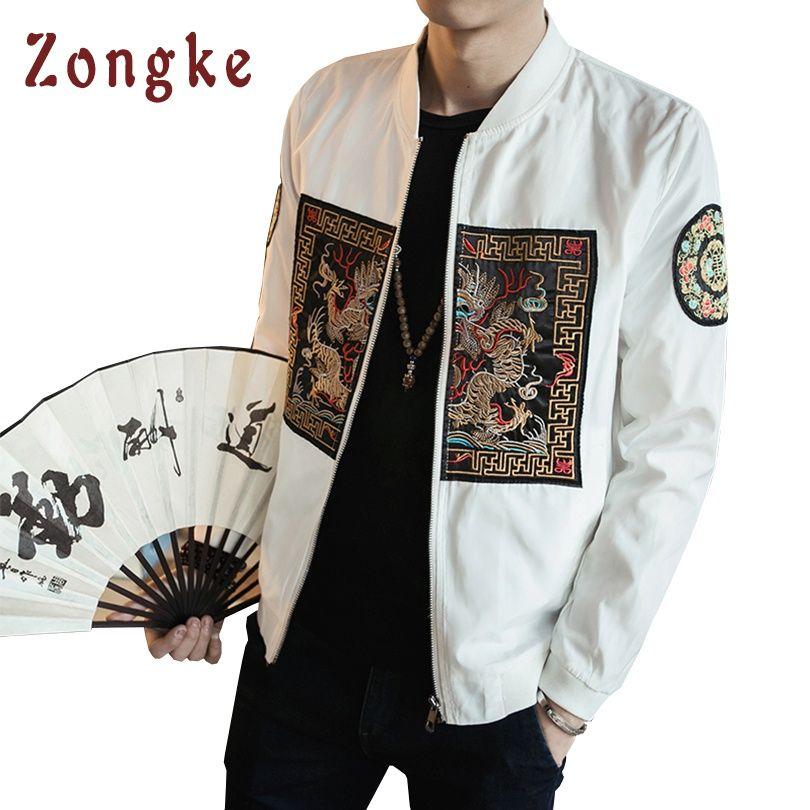2018 New Chinese Dragon Embroidery Bomber Jacket Coat Men Jaqueta Masculina Mens Bomber Jackets Chaquetas Hombre Veste Homme