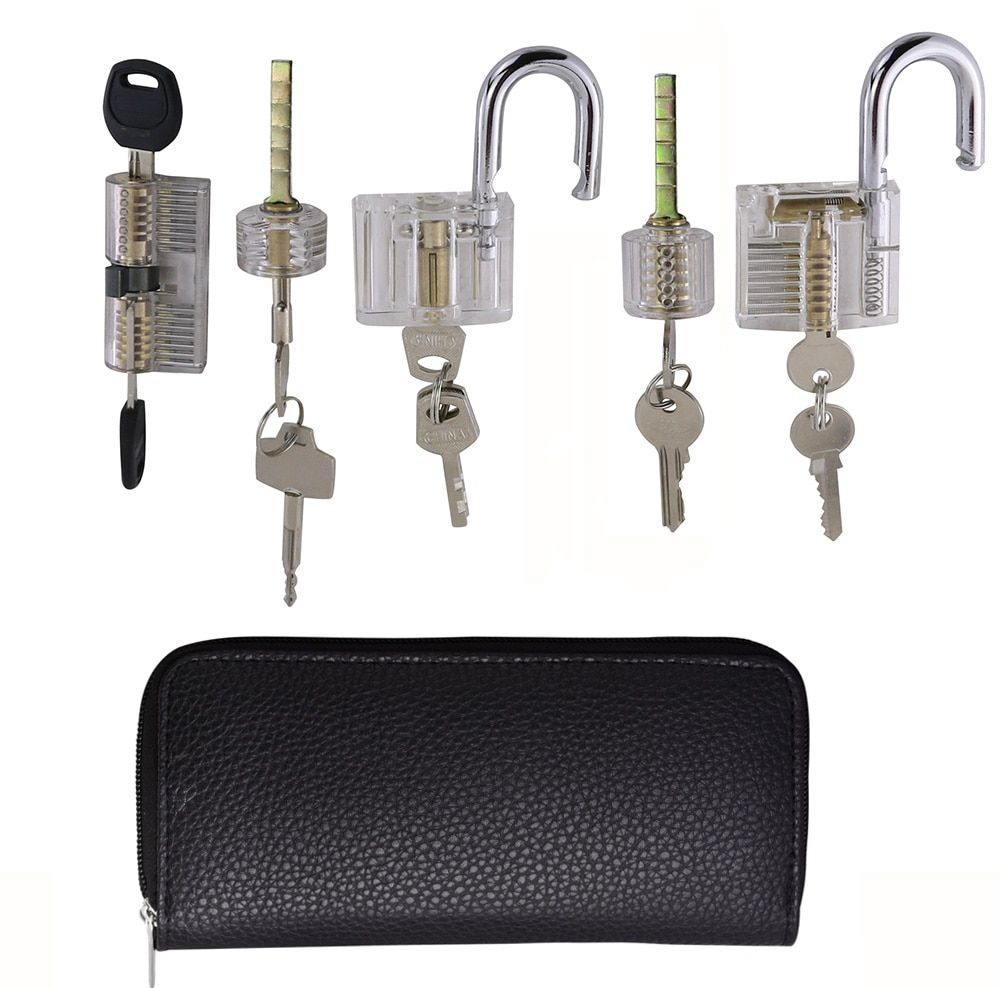 Free shipping locksmith pick supply 5pcs transparent lock for beginner and locksmith training,best training kit