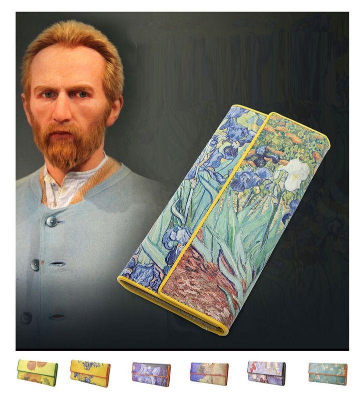 Mujeres Trifold cuero Van Gogh pintura al óleo monedero 3D textura móvil caso vintage retro moda titular de la tarjeta monedero con cremallera bolsa