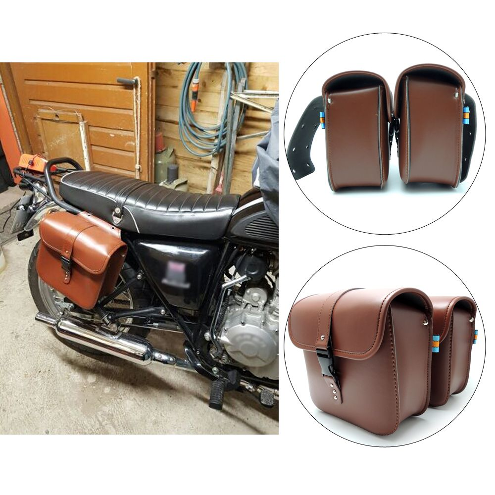 KEMiMOTO Motorcycle saddle bags PU Leather SaddleBag cruise vehicle side Panniers Tool Bag for Harley Cruiser after market