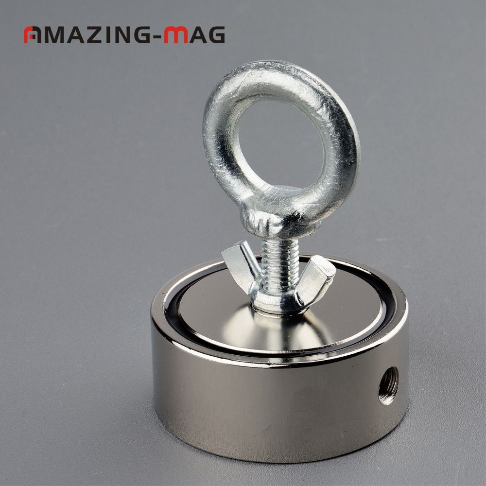 1pcs 200KG*2 Vertical Pull-force Neodymium Fishing Salvage Recovery Magnet with Rope D67*28mm Retrieving Metal Treasure Hunter