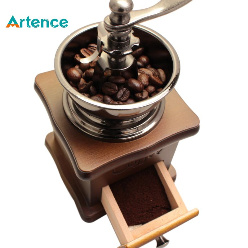 Classical Wooden Manual Coffee Grinder Stainless Steel Retro Coffee Spice Mini Burr Mill With High-quality Ceramic Millstone