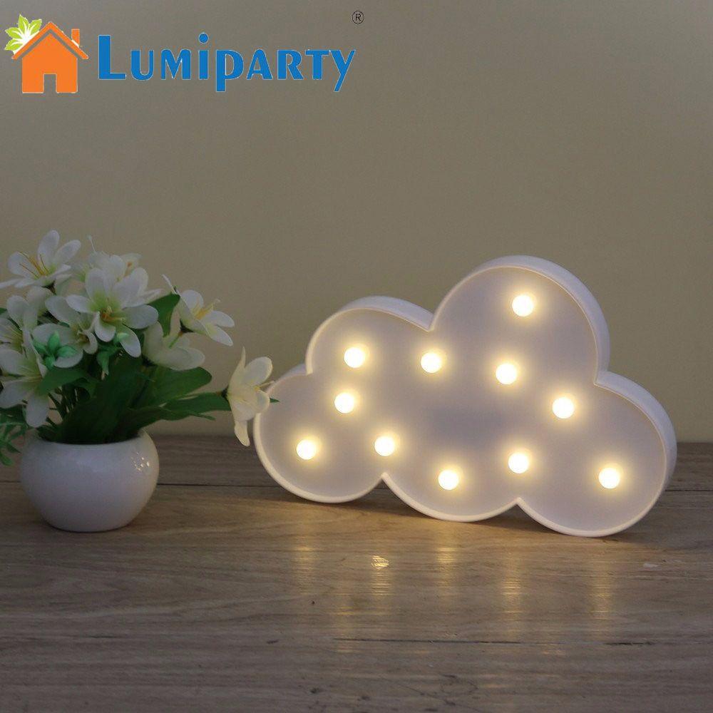 3D chapiteau nuage lampe de nuit avec 11LED à piles blanc nuage lettre lumière pour noël décoration enfant cadeau