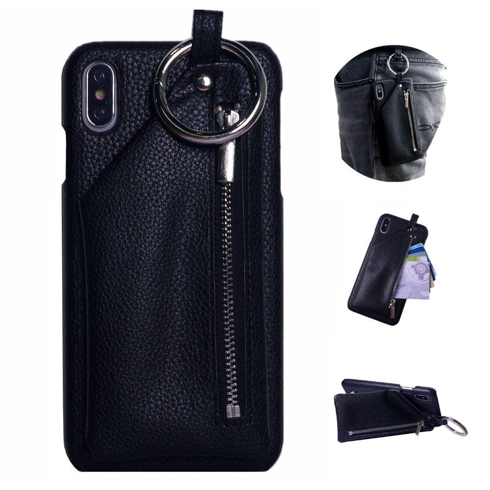 Dir-maos pour iPhone Xs Max etui portefeuille Xr X 8 7 6 6 s Plus cuir couverture boucle O Ring fermeture éclair sac de poche tenir pour Apple HOT