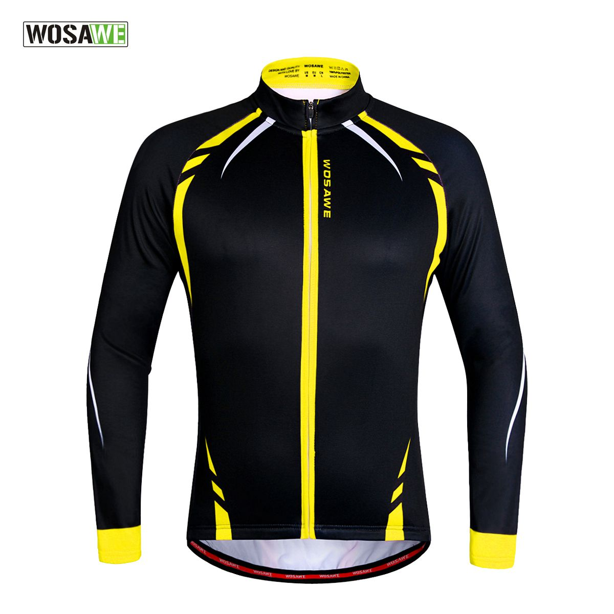 WOSAWE Thermal Cycling Jackets Yellow Windproof Long Sleeve Jersey MTB Bike Bicycle ciclismo Reflective Fleece Cycling Clothing