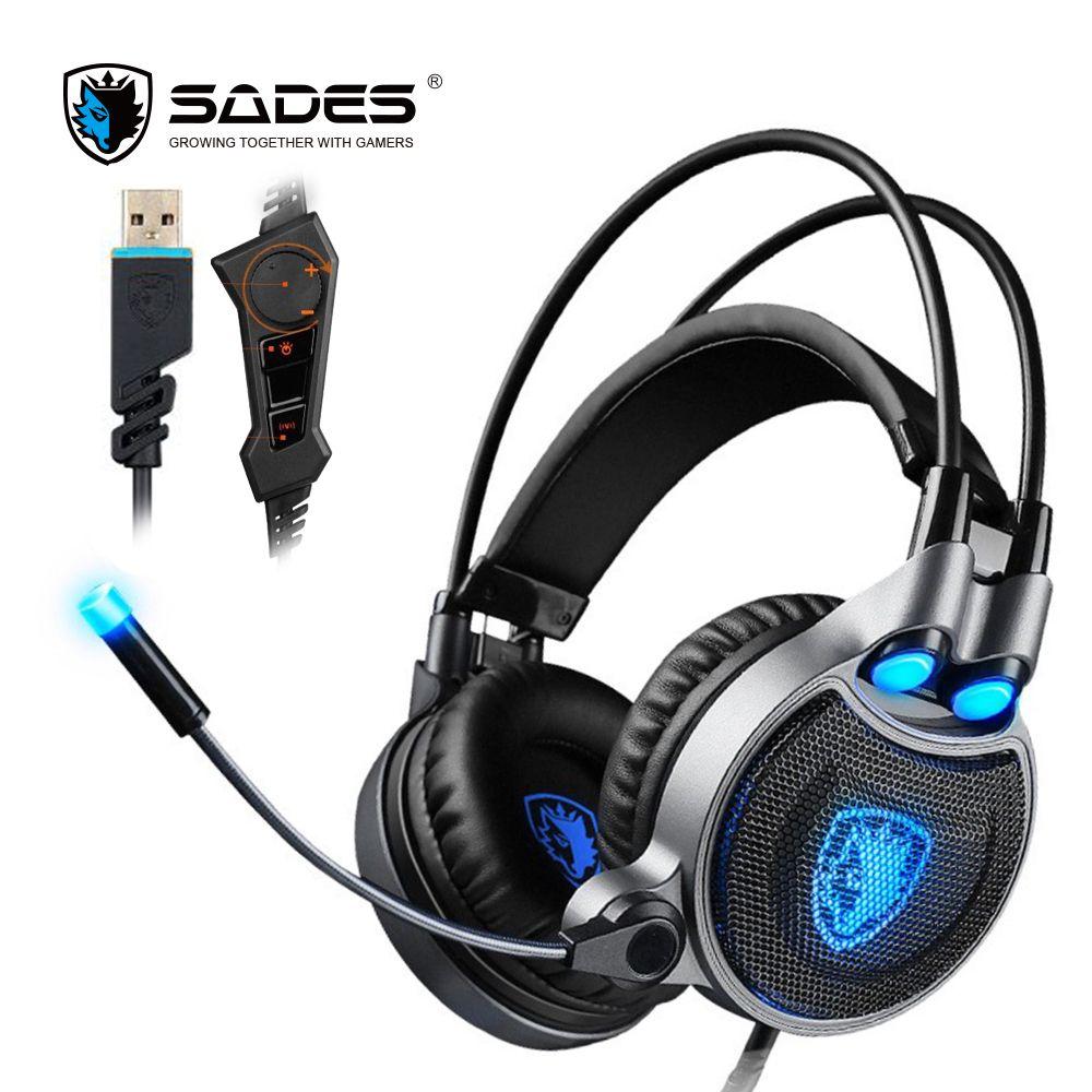 SADES R1 Virtuel 7.1 Surround Sound Gaming Casque Sur-oreille USB Ordinateur Casque avec Vibrant Basse et LED Lumière