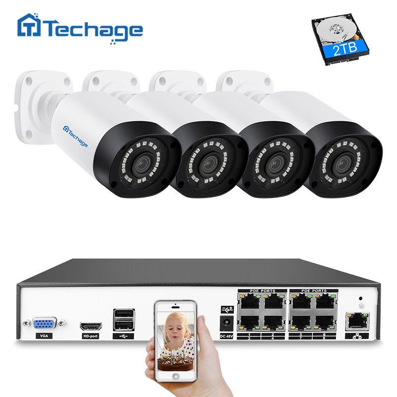 Techage H.265 8CH 4MP CCTV System POE NVR Kit 4 stücke Im Freien Wasserdichte 4MP Sicherheit IP Kamera P2P Video Überwachung system Set