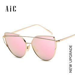 AiC lunettes de Soleil Femmes 2018New Cat eye lunettes de Soleil Marque Designer Miroir Lunettes pour Dames Femme, lunette de soleil femme, okulary