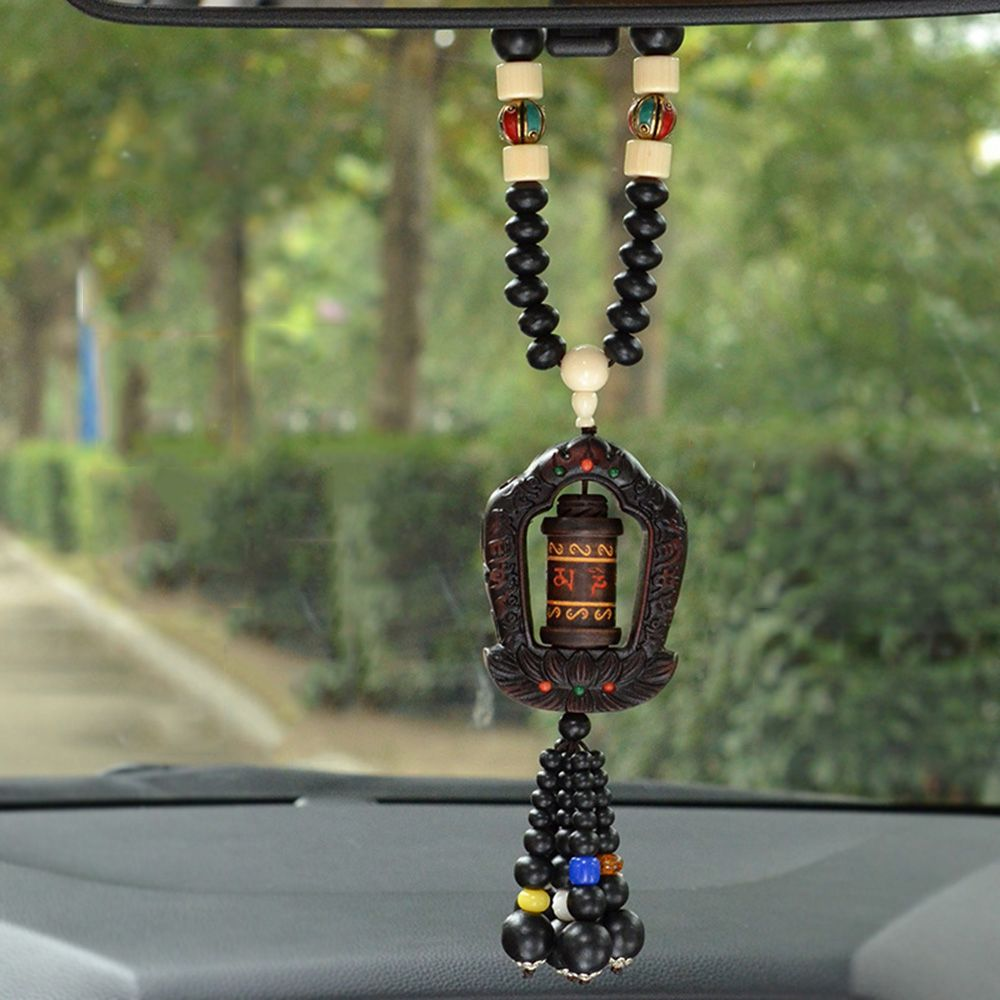 Car Pendant Peach Prayer Whee Maniwheel Hanging Ornaments Charms Dangles Interior Auto Decoration Accessories Christmas Gifts