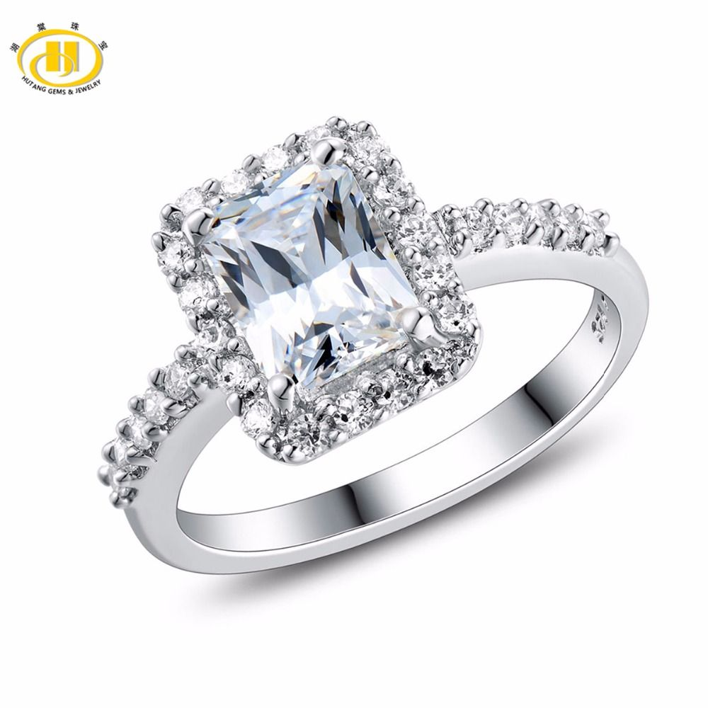 Hutang bague de fiançailles solide 925 en argent Sterling classique femmes filles cristal Fine pierre bijoux nouveauté similaire diamant