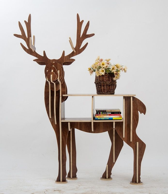 Large Book Rack Bookcase Display Storage Furniture for CDs, Movies &Books Animal Deer Display Bookrack Wooden Bookcase Shelves