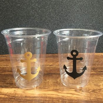 Sticker Clear Disposable Anchor Cups 12oz Nautical Wedding Party Cups Baby Shower/Kids Pirate Theme Birthday Party Decorations