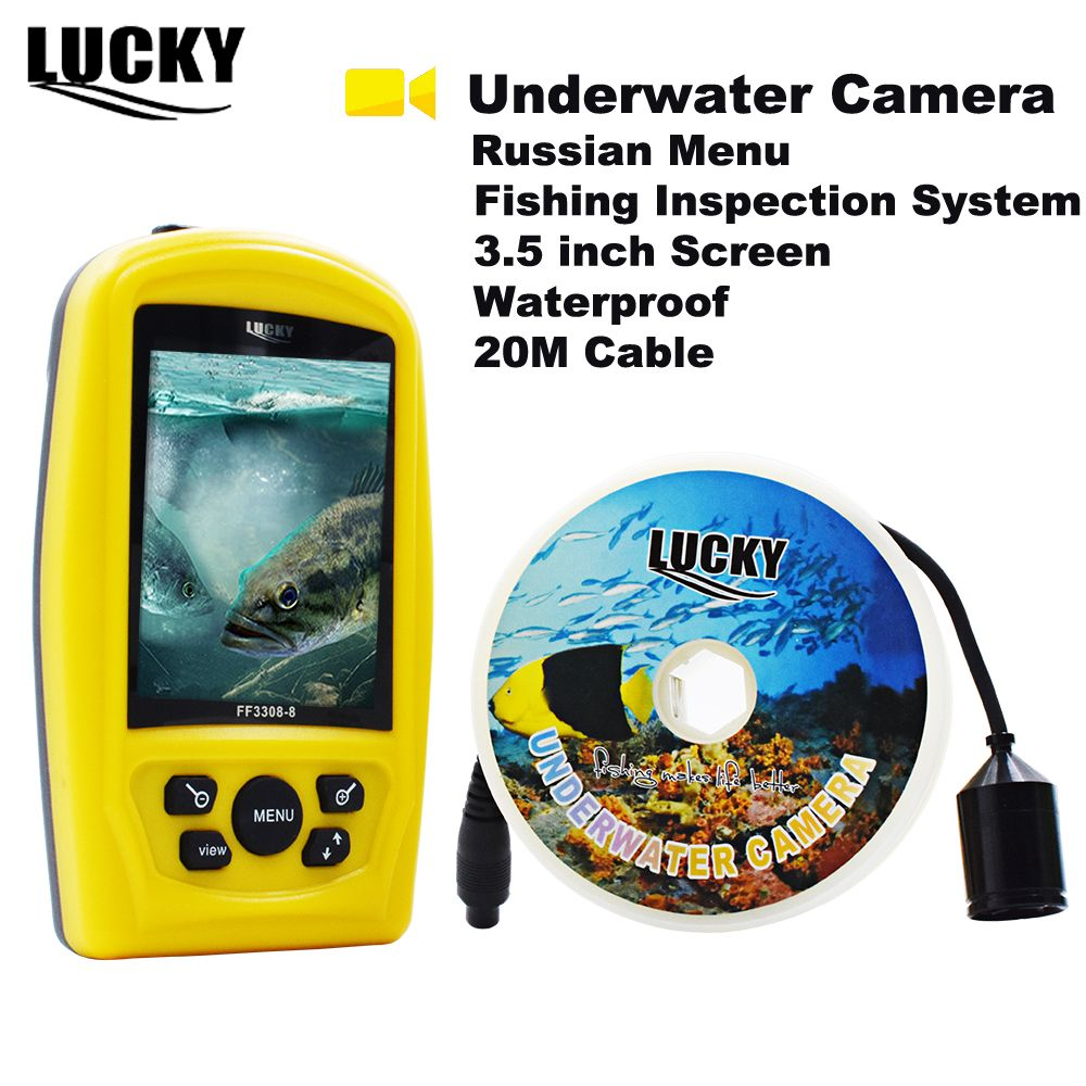 LUCKY FF3308-8 Russian Menu Portable Underwater Camera 3.5inch Fishing Inspection System Waterproof Fish Finder Winter Ice #C7