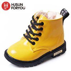 2018 nuevos niños del invierno Zapatos PU de cuero impermeable Martin Botas niños Botas de nieve marca Niñas Niños goma Botas moda sneakers