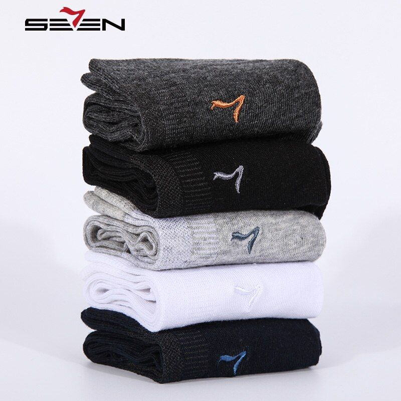 Seven7 Brand Fashion Men Socks 5 Pairs\Set High Quality Cotton Sock Solid Colors Classic Basic Comfortable Dress Socks 110F08020
