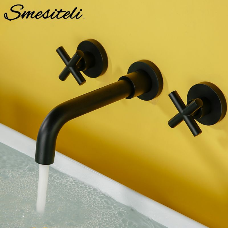 Modern Basin Set 3 hole Silver Gold Alba Black Brass Double Cross Handle Wall Mounted <font><b>Bathroom</b></font> Sink Faucet Hot Cold Tap In-Wall