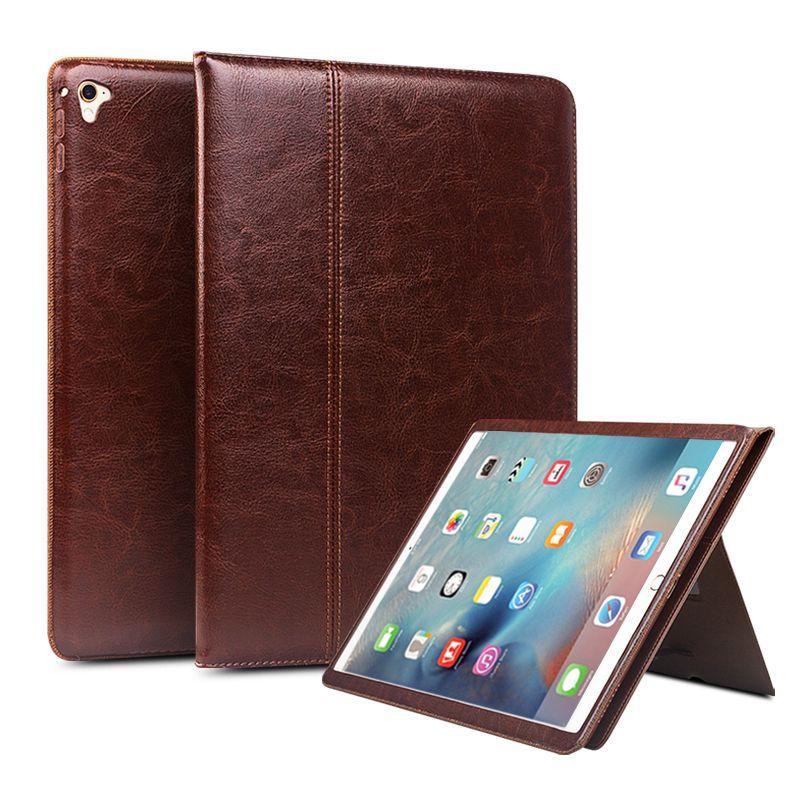 QIALINO Echtes Leder-kasten für iPad Pro 12,9 Flip Mode muster Stents Ruhe Stehen CoverCard Slot fall