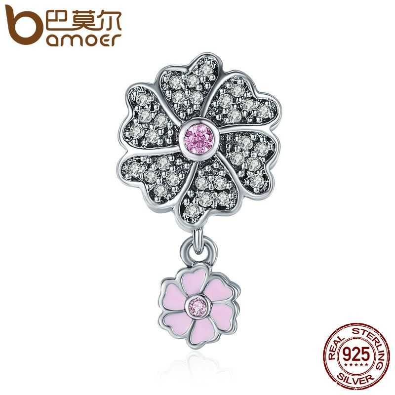 BAMOER Authentic 925 Sterling Silver Blooming Daisy Flower Dangle Charm Pendant fit Women Charm Bracelet Necklace Jewelry SCC400
