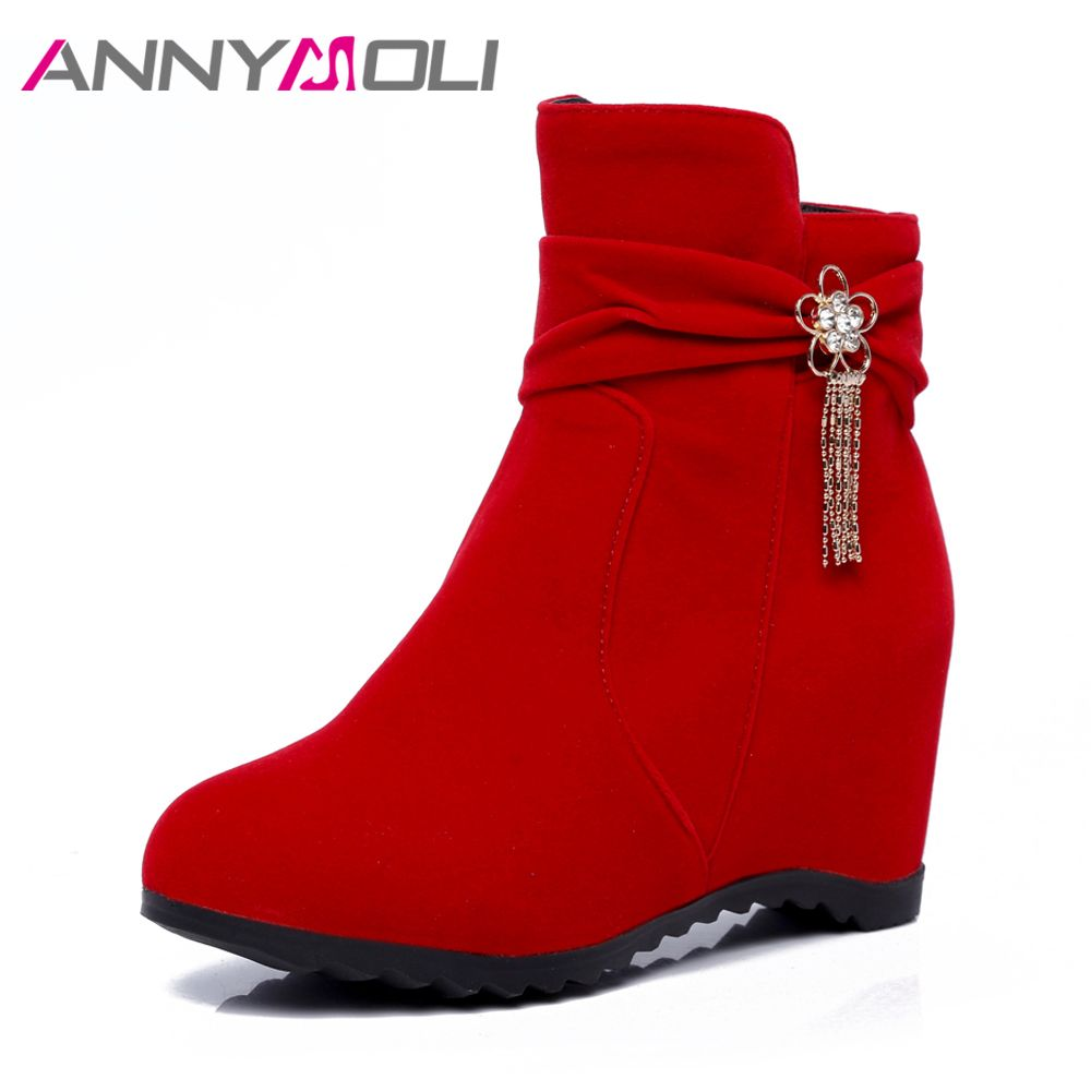 ANNYMOLI Boots Women Winter Tassel Increasing High Heel Ankle Boots Crystal Wedges Heels Short Boots Handmade Shoes 2017 Red