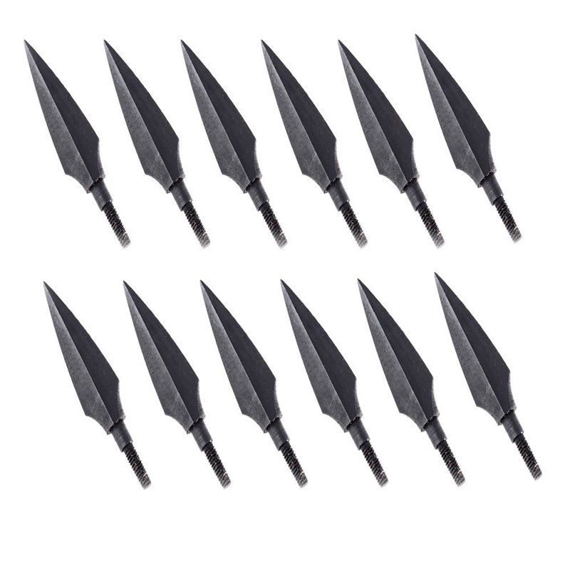12 stücke Schwarz Trigonous Jagdspitzen pfeilspitzen Für Jagd Pfeilspitzen Bogenschießen Crossbow Outdoor