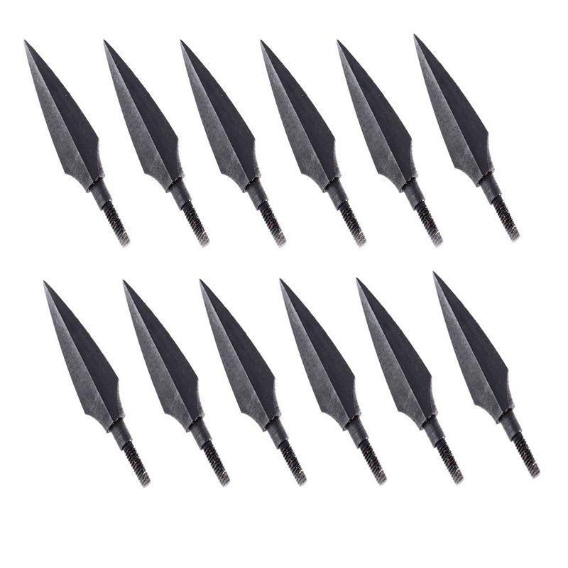 12pcs Black Trigonous Broadheads Arrow heads For Hunting Arrow Heads Archery Crossbow Outdoor