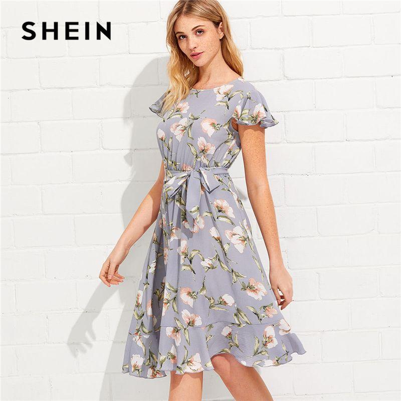 SHEIN Tie Neck Ruffle Hem Calico Dress 2018 Summer Fit and Flare <font><b>Short</b></font> Dress Women Cap Sleeve A Line Floral Vacation Dress