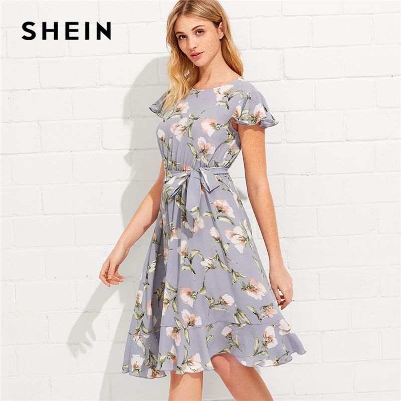 SHEIN Tie Neck Ruffle Hem Calico Dress 2018 Summer Fit and Flare Short Dress Women Cap Sleeve A Line Floral Vacation Dress